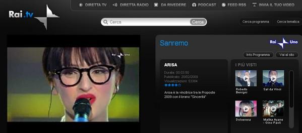 La vincitrice di Sanremo Giovani 2009: Arisa