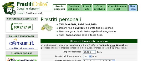 Confrontare i prestiti online