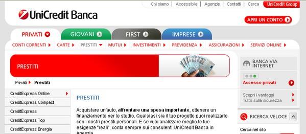 Prestiti personali unicredit for Finanziamenti online