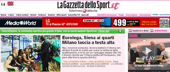 Quotidiani sportivi: La Gazzetta dello Sport