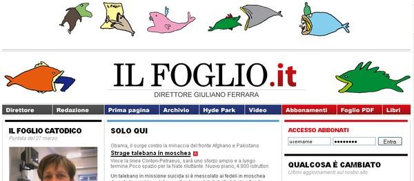 Quotidiano Il Foglio, diretto da Giuliano Ferrara