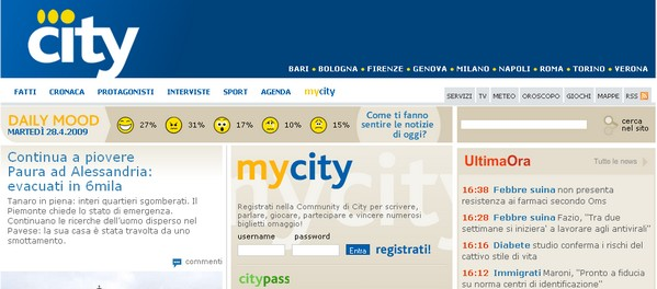 Un quotidiano distribuito gratuitamente in diverse città italiane: City