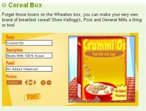 Personalizzate una scatola di cereali!