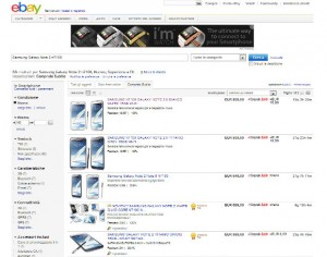 Galaxy Note 2 in vendita su Ebay